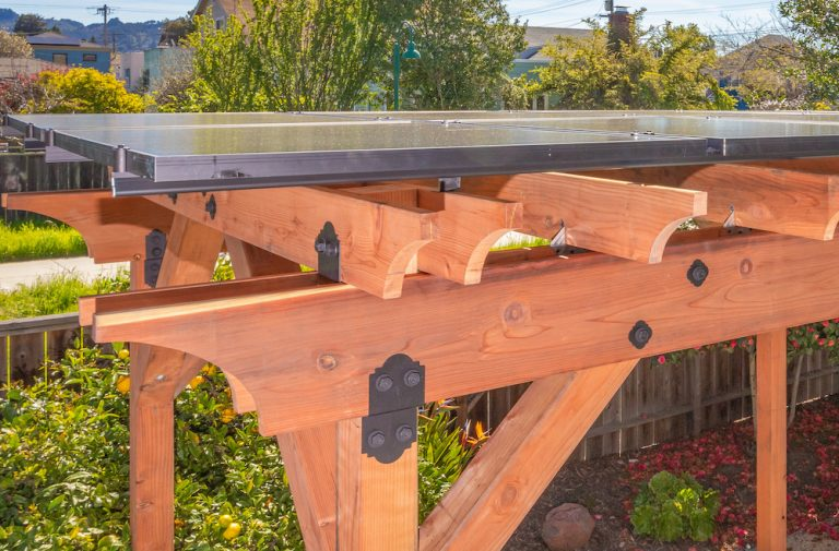 Close up view of the top of a Shade Power solar pergola