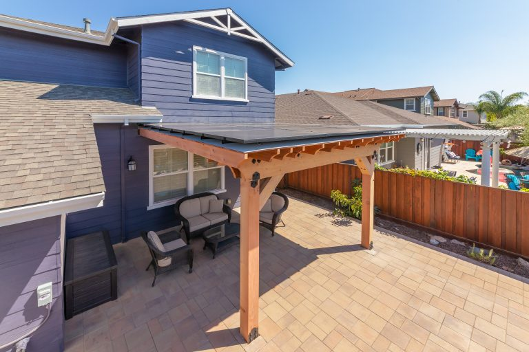 Attached solar pergola at a home in Livermore, CA.