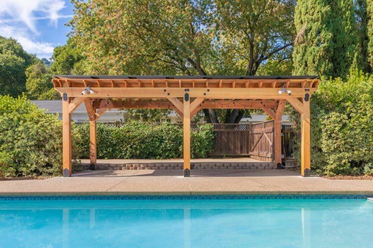 Solar pergola near pool