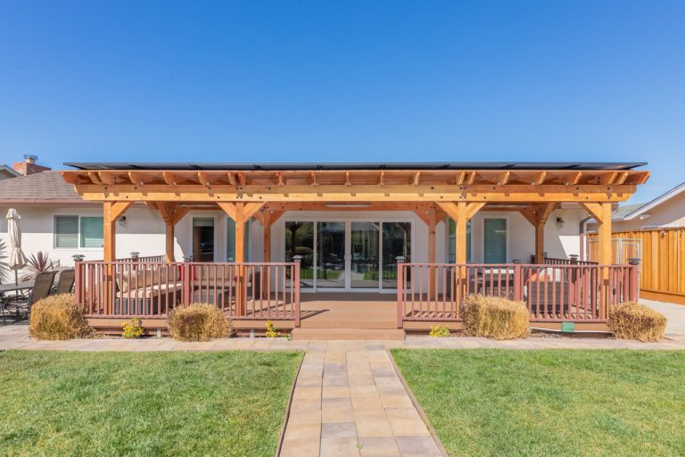 Showing a solar pergola built on a deck in Newark, CA