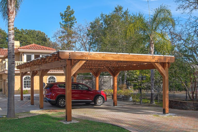 Solar carport in front of a home in Saratoga, CA